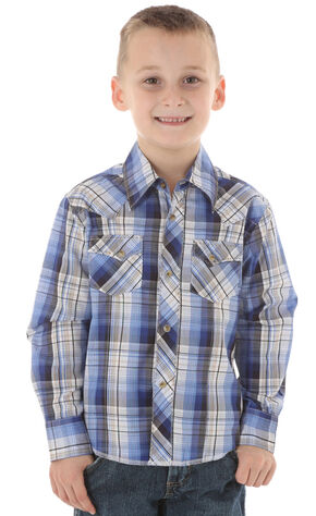 Wrangler Boys' Blue Plaid Western Fashion Snap Shirt, Blue, hi-res