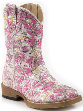 Roper Toddler Girls' Glittery Fabric Cowgirl Boots, Pink, hi-res