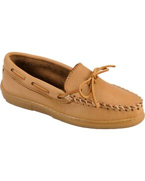 Women's Minnetonka Moosehide Classic Moccasins - Wide, Natural, hi-res