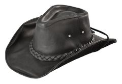 Bullhide Men's Black Melbourne Leather Hat, , hi-res