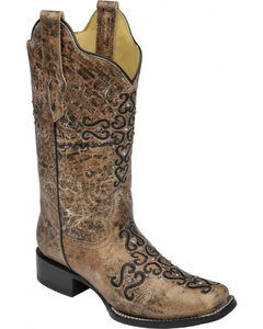 Corral Distressed Bronze Crystal Embroidered Cross Cowgirl Boots - Square Toe , , hi-res
