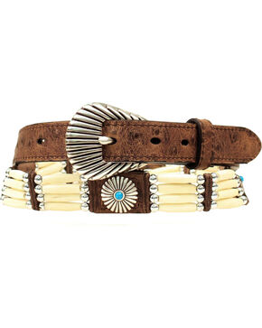 Nocona Bone Beaded Concho Ostrich Print Leather Belt, Brown, hi-res