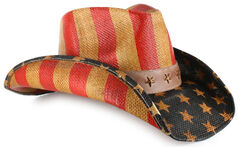 Cody James Justice American Flag Drifter Straw Cowboy Hat, , hi-res