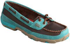 Twisted X Women's Brown and Turquoise Driving Mocs, , hi-res