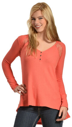 Others Follow Women's Waffle Lace Top, , hi-res