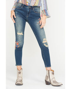 Miss Me Women's Embroidered Ankle Jeans - Skinny , , hi-res