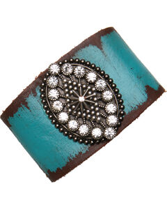 Cowgirl Confetti by AndWest Turquoise Leather Cuff with Oval Madeallion and Rhinestones, , hi-res