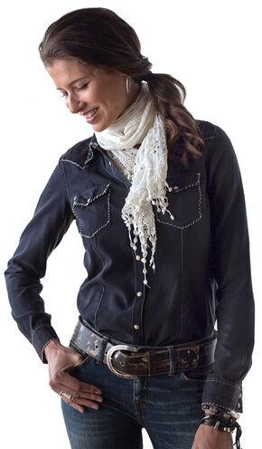 Ryan Michael Women's Whip-Stitch Silk Cotton Shirt, Black, hi-res