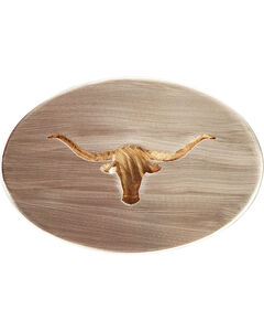 American Heritage Stainless Buckles Longhorn Steer Belt Buckle, , hi-res