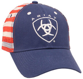 Ariat Men's American Flag Logo Cap, Navy, hi-res