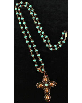Blazin Roxx Bronzed Cross Pendant Necklace & Earring Set, Bronze, hi-res