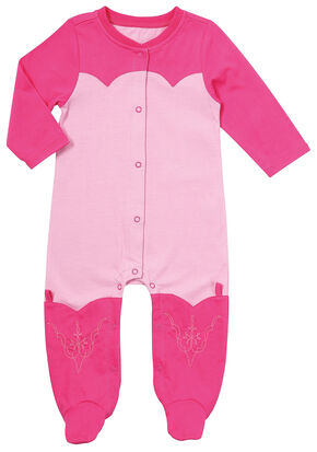 Wrangler Infant Girls' Pink Footed Romper, Pink, hi-res