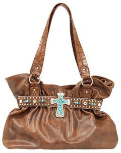 Blazin Roxx Faux Turquoise Stone Cross Shoulder Bag, , hi-res