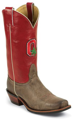 Nocona Men's Ohio State University College Cowboy Boots - Square Toe, Tan, hi-res