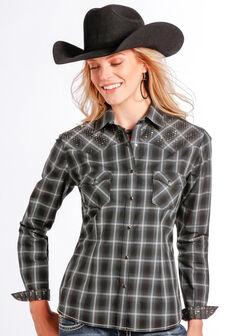 Rough Stock by Panhandle Slim Women's Vintage Lurex Plaid Western Shirt , , hi-res