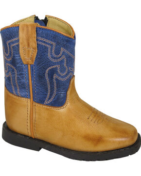 Smoky Mountain Toddler Boys' Blue Autry Western Boots - Square Toe , Brown, hi-res
