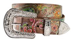 Nocona Floral Paisley Print Leather Belt, , hi-res