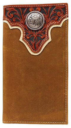 Ariat Tooled Overlay & Round Concho Rodeo Wallet, , hi-res