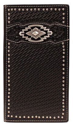 Ariat Black Basketweave Aztec Concho Rodeo Wallet, Black, hi-res
