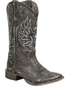 Roper Sanded Brown Eagle Stud Cowgirl Boots - Square Toe, , hi-res