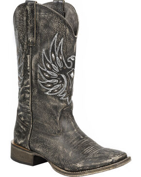 Roper Sanded Brown Eagle Stud Cowgirl Boots - Square Toe, Brown, hi-res