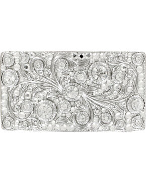 Nocona Women's Rectangle Crystal Scroll Buckle, Silver, hi-res