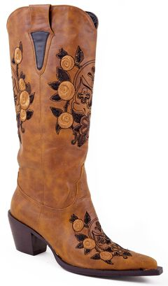 Roper Skull & Floral Embroidered Cowgirl Boots - Pointed Toe, , hi-res