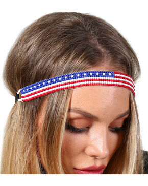 Shyanne Women's Beaded American Flag Headband, Multi, hi-res