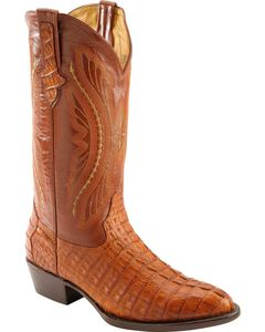 Ferrini Cognac Caiman Tail Cowboy Boots - Medium Toe, , hi-res