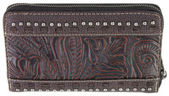 Montana West Trinity Ranch Coffee Tooled Design Wallet, , hi-res