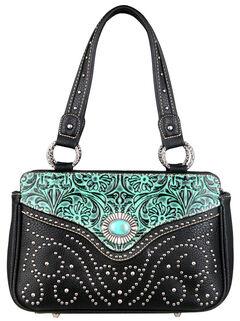 Montana West Trinity Ranch Turquoise Tooled Design Handbag, , hi-res