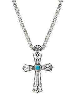 Wrangler Rock 47 Fleur de lis Blue Stone Cross Necklace, , hi-res