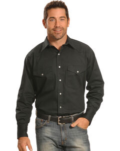 Crazy Cowboy Men's Black Western Work Shirt - Big & Tall, , hi-res