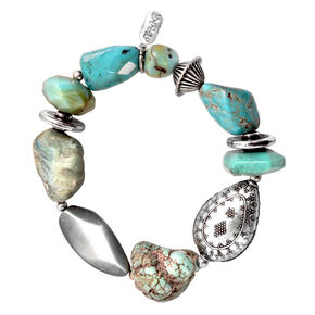 Treska Women's Mykonos Chunky Beaded Stretch Bracelet , Turquoise, hi-res