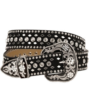 Nocona Rhinestone Studded Suede Leather Western Belt, Black, hi-res