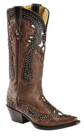 Corral Tobacco Studded Overlay Cowgirl Boots - Snip Toe, Brown, hi-res
