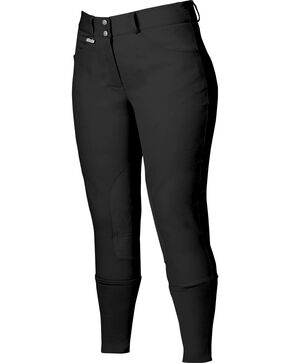 Dublin Active Shapely Euro Seat Front Zip Breeches - Black, Black, hi-res