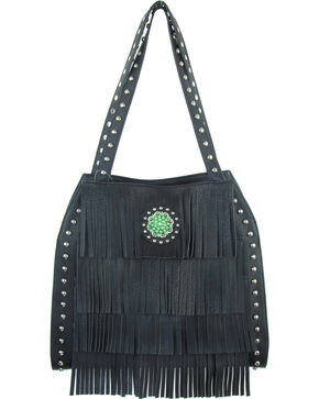 Savana Black Turquoise Concho Conceal Carry Handbag, Black, hi-res