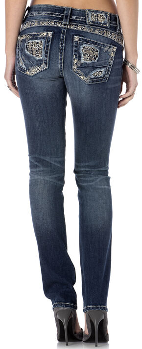 Miss Me Women's Deconstruction Straight Leg Jeans, Indigo, hi-res