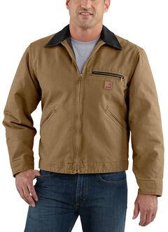 Carhartt Blanket Lined Sandstone Detroit Work Jacket - Big & Tall, Brown, hi-res