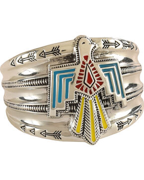 Rock 47 by Montana Silversmiths Flair Painted Thunderbird Cuff Bracelet, Multi, hi-res