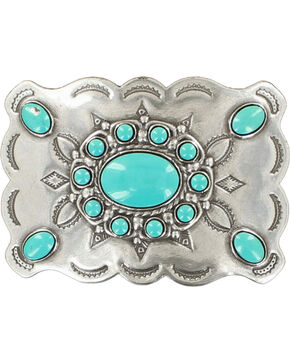 Blazin Roxx Women's Silver Plated Turquoise Stone Buckle, Silver, hi-res