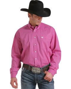 Cinch Men's Fuchsia Long Sleeve Mini Print Shirt , Fuchsia, hi-res