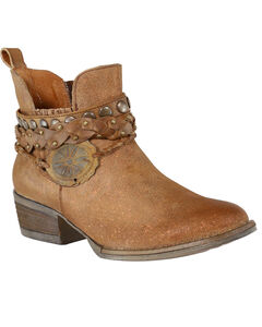 Circle G Women's Harness & Studs Ankle Boots - Round Toe, Brown, hi-res