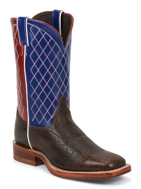 Justin Bent Rail Cowboy Boots - Square Toe, Root Beer, hi-res