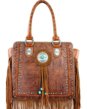 Montana West Trinity Ranch Collection Tooled Fringe Handbag, Brown, hi-res