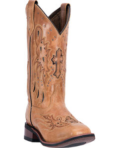 Laredo Women's Tan Cowgirl Boots - Square Toe  , , hi-res