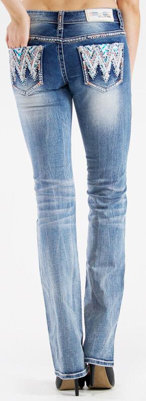 Grace in LA Women's Medium Wash Aztec Bootcut Jeans , Indigo, hi-res