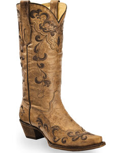 Corral Vintage Tan Embroidered Overlay Cowgirl Boots - Snip Toe, , hi-res