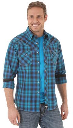 Wrangler Rock 47 Men's Embroidered Yoke Blue Plaid Shirt, , hi-res
